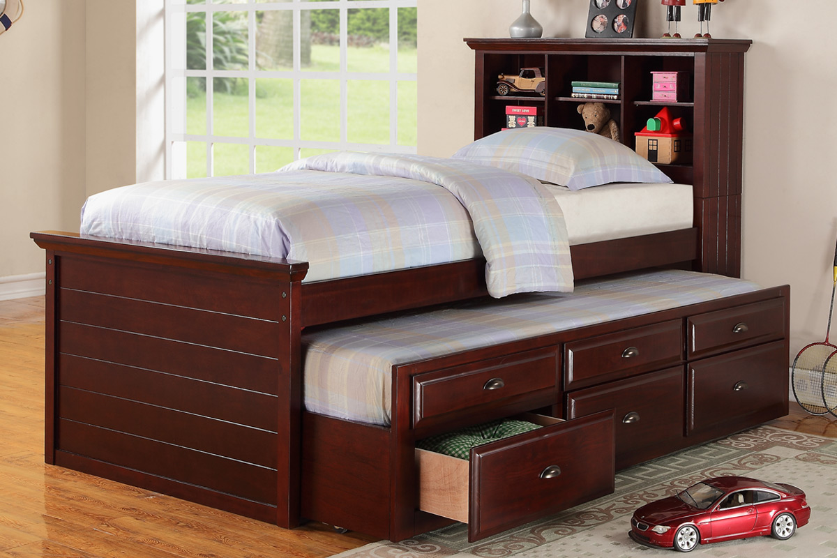 Elegant Dark Brown Trundle With Bookcase In Headboard A Pull Out Bed And Drawer  System Pictures Gallery