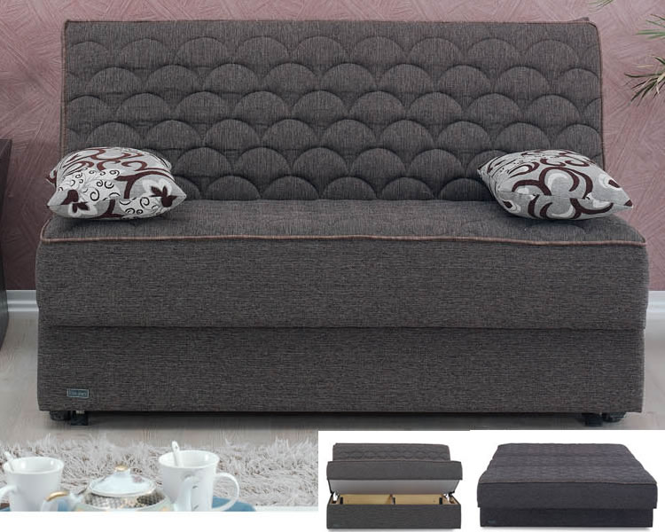 dark grey floded loveseat sleeper design with two throw pillows