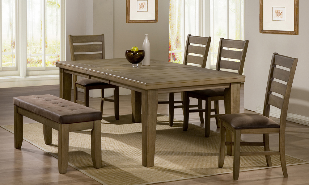 Dining room tables with benches homesfeed for Dining room upholstered bench