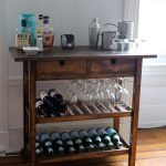Darker coated wooden bar cart idea