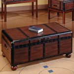 Darker stained wood trunk table design