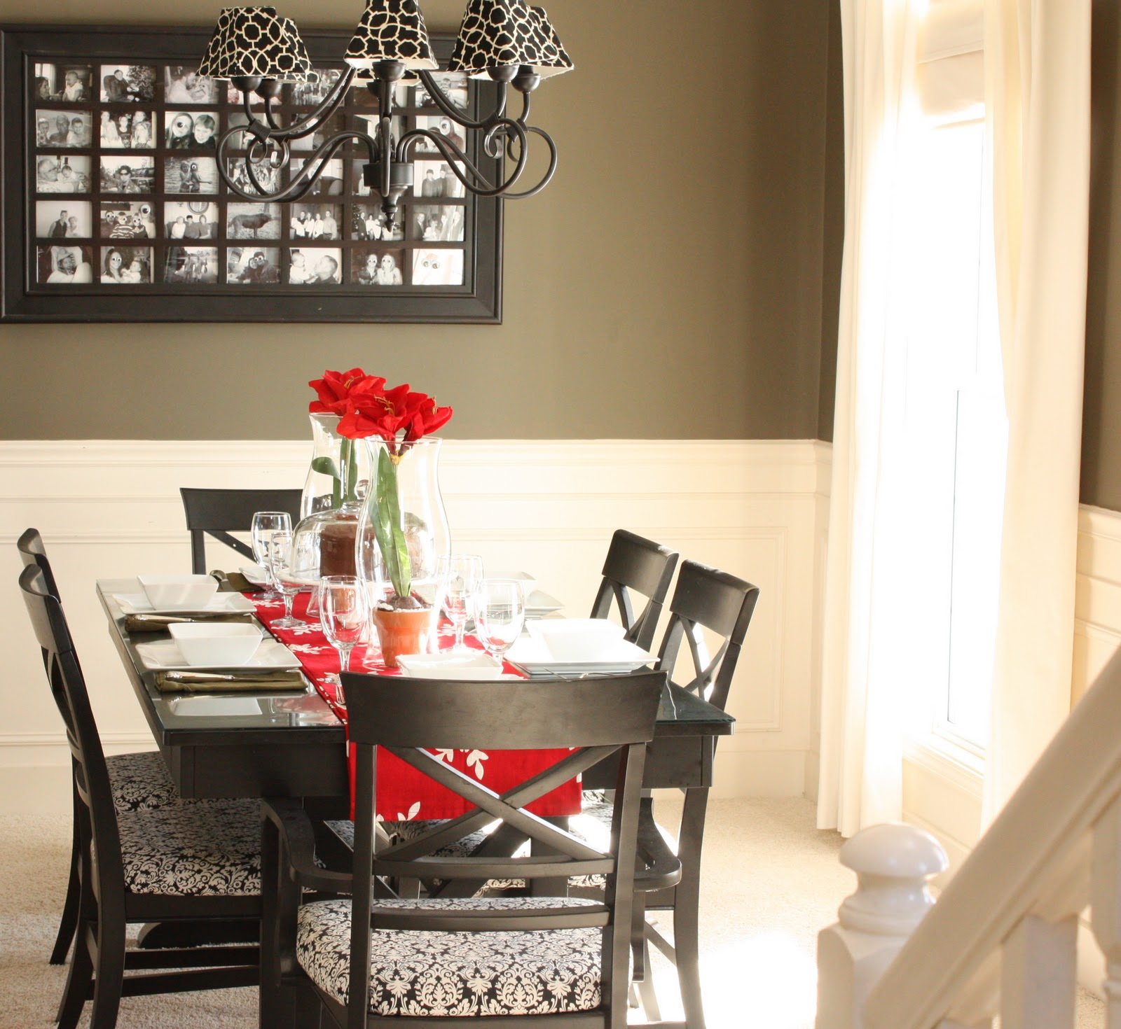 Dining Room Decor On Table With Red Flower And Six Chairs Stylish  CHandelier And Frames