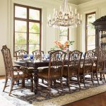 Dining Room Table Chairs Wooden Set With Luxury Chandelier And Carpet Big Windows