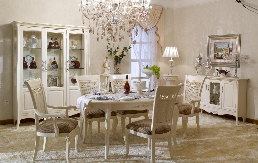 Perfect Dining Room Decor In White French Theme With White Dining Chairs White  Dining Table White Armoir