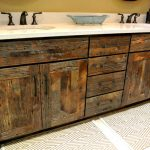 Distressed wooden cabinets as a bathroom vanity