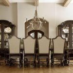 Double Wooden Hutch And Dining Room Table Chair Set With Classic Chandelier