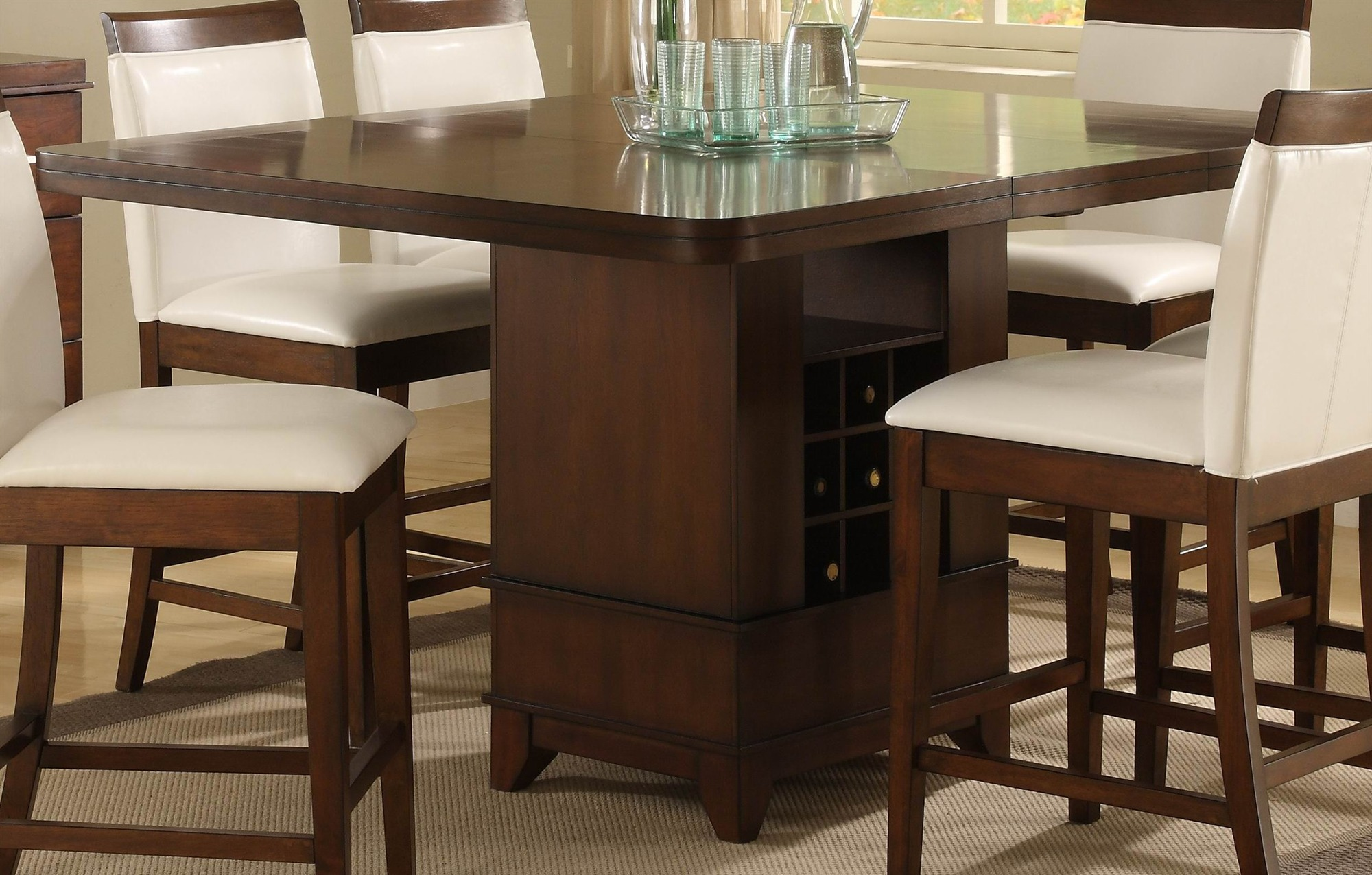 Square dining table for 4 homesfeed - Elegant kitchen table sets ...