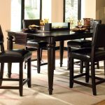 Elegant High Kitchen Wood Table Set And Big Rug