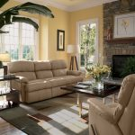Elegant Rustic Living Room WIth Cream Sofa Coffee Table Stone Fireplace And Big Plant