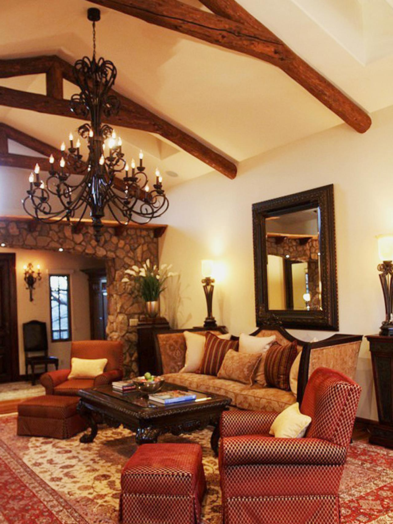 Wonderful Elegant Spanish Living Room With Exposing Beams Classic Chandelier Old  Style Of Sofas And Big Mirror