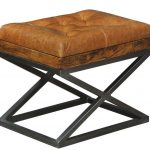 Elegant black stained metal x base stool with leather cushion