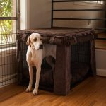 Elegant brown fabric crate cover idea for dog