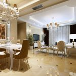 European Luxury Living Rom With Bright Lighting Of Two Chandeliers And White Furniture