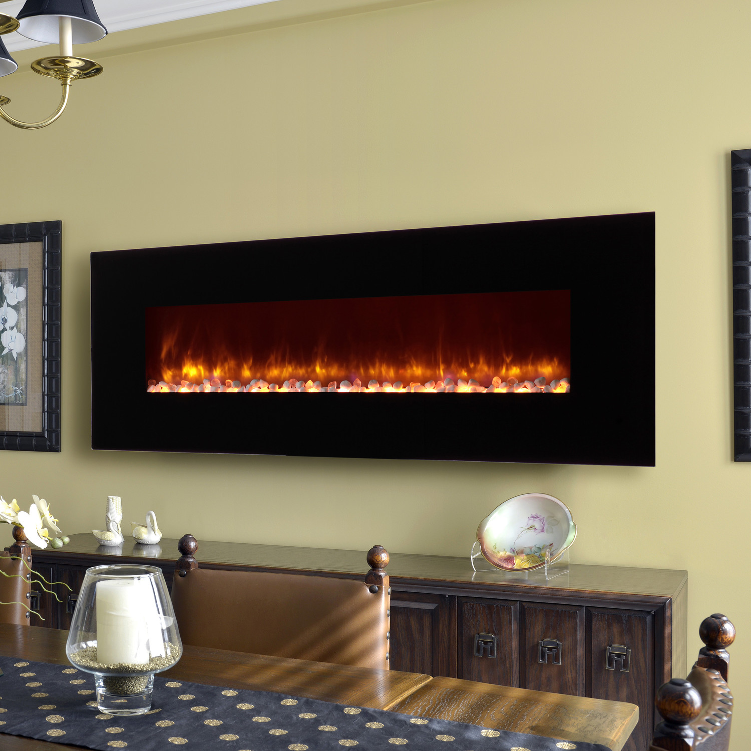 Fireplaces LED Wall Mount Electric Fireplace With Classic Cabinet And Dining Room Table Chair Set