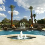 Floating Swimming Pool Fountain Water Design With Palms Tree