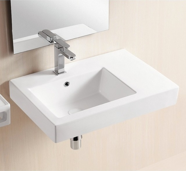 Floating Modern Minimalits White Sink And Stainless Steel Faucet A  Frameless Mirror. Simple And Small White Sink Mounted On Wall