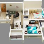 Floor plan for modern home which consists of two bedrooms two bathrooms a living room plus dining room a kitchen with small bar