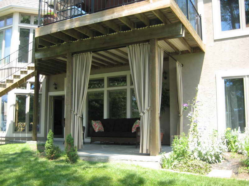 Floor To Ceiling Patio Drape Idea A Sofa With Decorative Pillows For Patio
