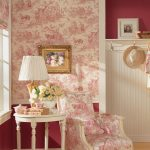 Flower Wallpaper Red And Pink Shader Chair Lamp Table
