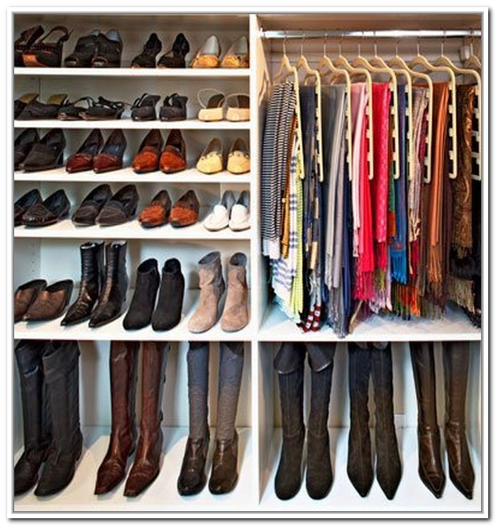Boot Storage Idea Made Of Wood Footwear And Cloth Closet Organizer In White