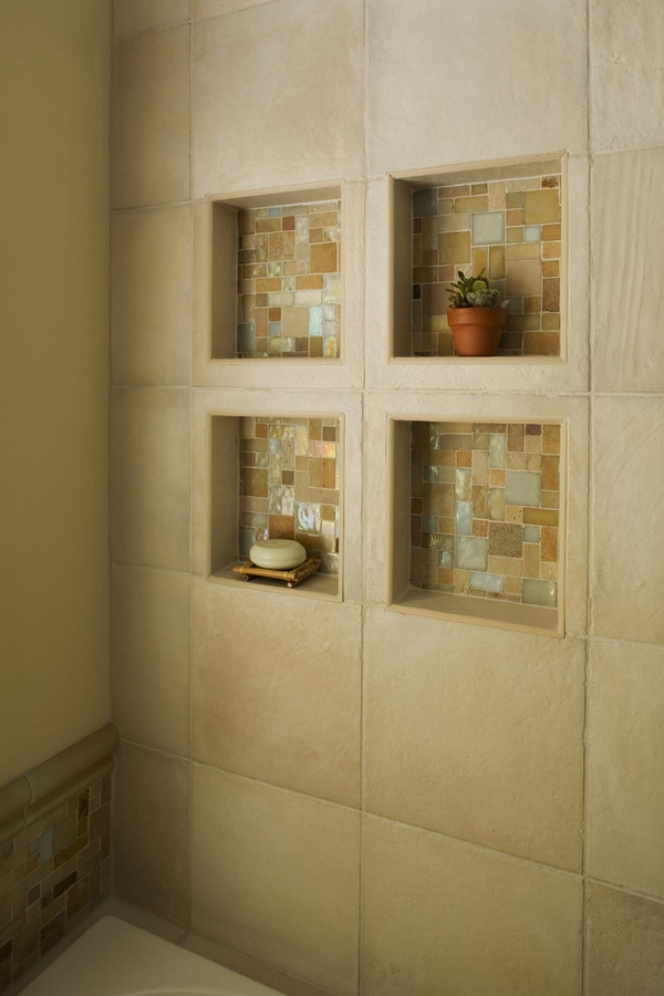 Built in shower shelves homesfeed for Bathroom built in shelving ideas