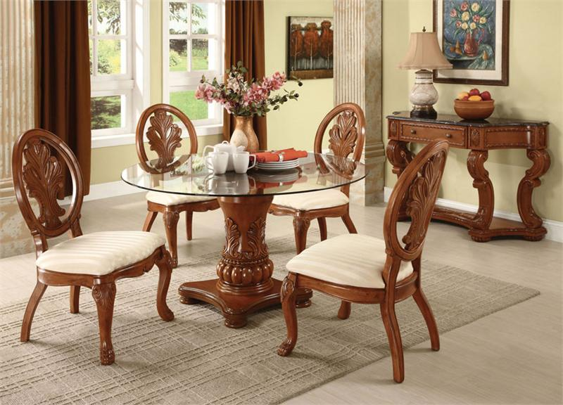 Glass Wood Dining Table Round round dining table set for 4 | homesfeed