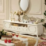 French themed furniture such as console table coffee table and some decorative items such as decorative plate vases pot and craft metal framed mirror
