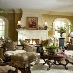 Fresh Victorian Living Room With Big Furniture Warm Set White FIreplace Kit And Plants