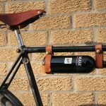 Full leather wine bottle holder in a bicycle