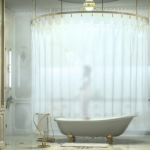 Giant circular rod idea for shower curtain ceiling showerhead white bathtub with clawfeet