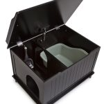 Glossy black cat litterbox enclosure idea with two rooms and single door