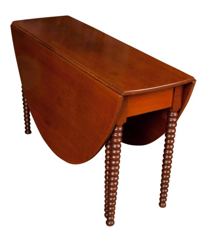 Glossy Brown Coated Drop Leaf Table With Double Leaves And Textured Legs