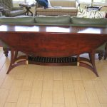 Glossy dark brown coated wood drop leaf table idea