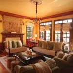 Good Looking Of Rustic Living Room With Brown Sofa Pillows Fireplace Pendant Chandelier And Window Shader