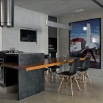 Gothic kitchen island table combination design with black modern dining chairs with wood legs and wooden dining table