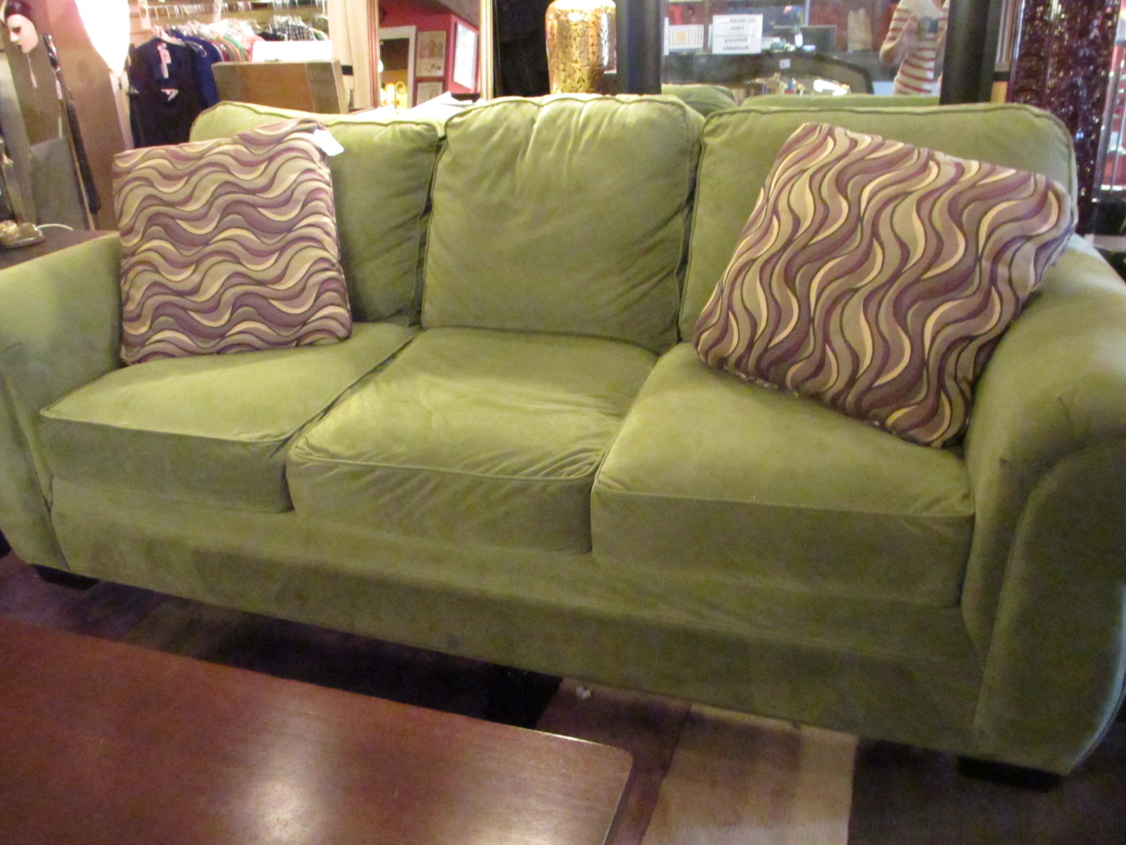Green Couch Design And Cool Pillow Design