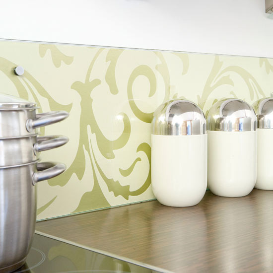 Green Floral Themed Wallpaper For Modern Kitchen Backsplash Some Small  Containers For Pepper Powder Salt And
