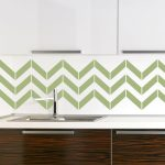 Green geometric pattern wallpaper for kitchen backsplash white minimalist wall cabinet idea base wooden cabinet system with clear natural lines built in sink and faucet