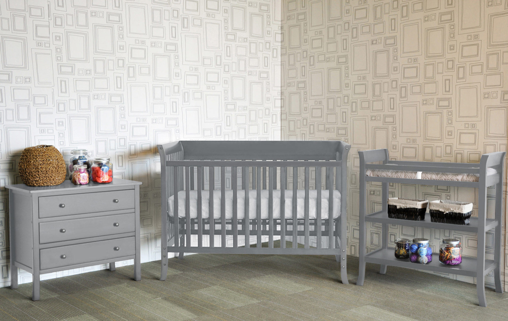 Grey Baby Cribs Tiamo Castello 2pc Baby Furniture Set Grey 8 Pc