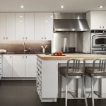 Grey Metal And Wooden Kitchen Set Combination In White Color