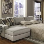 Grey Sofa Bed And Pillows With Awesome Frame And Cool Table