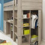 Grey Wooden Of Bunk Bed For Twins Complete With Drawers Shelfs And Wardrobe