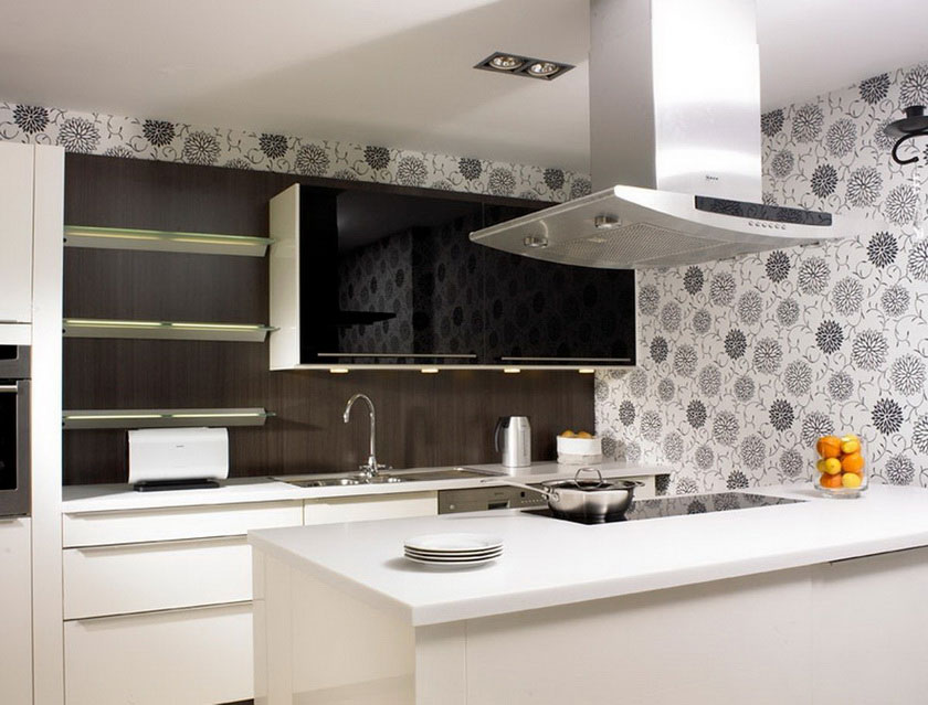 grey and black flower motif wallpaper for backsplash floating shelves black glass door wall cabinet white