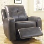 Grey leather modern recliner with thick leather cushion legrest and armrest