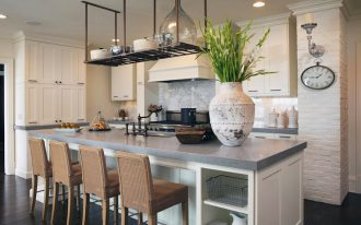 Grey quartz kitchen island idea several barstools white kitchen cabinet system