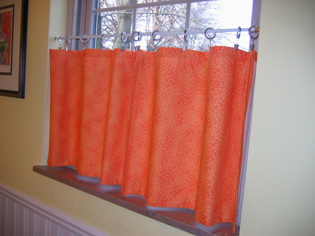half way window curtain in bright orange - Midcentury Cafe 2015