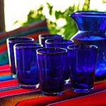 Hand Blown Glass 'Cobalt Angles' Drinking Glasses From Mexicowith Set Of 6 Glasses And Attractive Conical Shape Also Holds 16 Ounces