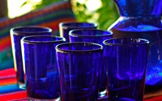 Hand-blown-Glass-'Cobalt-Angles'-Drinking-Glasses-from-Mexicowith-Set-of-6-glasses-and-Attractive-conical-shape-also-Holds-16-ounces