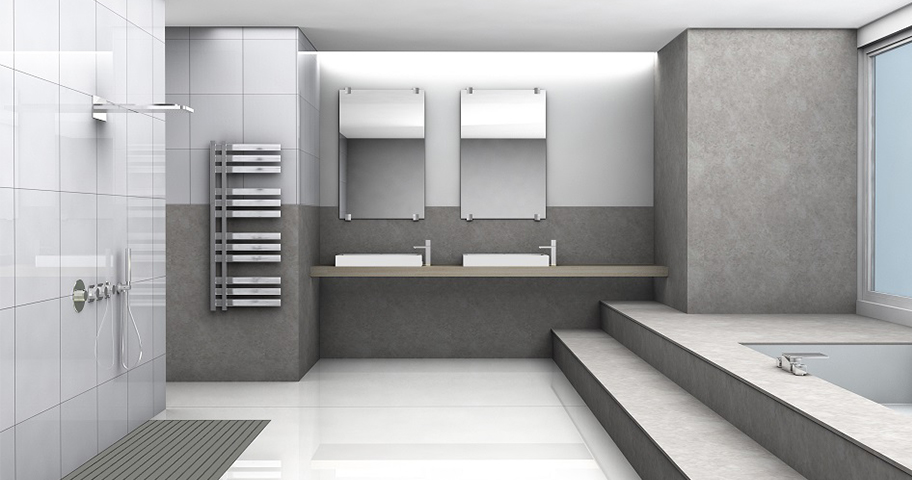 Hard metal wire towel warmer minimalist bathroom double sinks and a pair of frameless mirrors open shower space with modern wall mounted showerhead