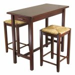 High Leg Wooden Table And Two Chairs